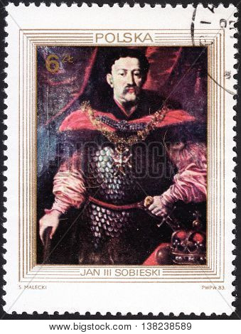 MOSCOW RUSSIA - JANUARY 2016: post stamp printed in POLAND shows portrait of King John III Sobieski series