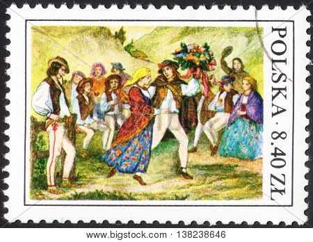 MOSCOW RUSSIA - CIRCA JANUARY 2016: a post stamp printed in POLAND shows Highlanders wedding dance with a rod the series