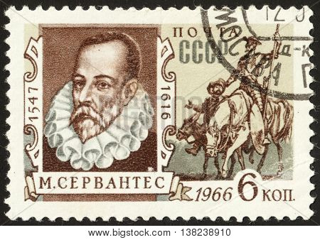 MOSCOW RUSSIA - DECEMBER 2015: a post stamp printed in the USSR shows a portrait M. Cervantes of and devoted to the 350th Death Anniversary of M.Cervantes circa 1966