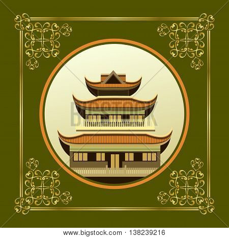 vector illustration of an old Buddhist temple in a circular shape on a green background decorated with gold pattern