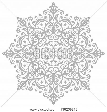 Oriental light gray round pattern with arabesques and floral elements. Traditional classic ornament