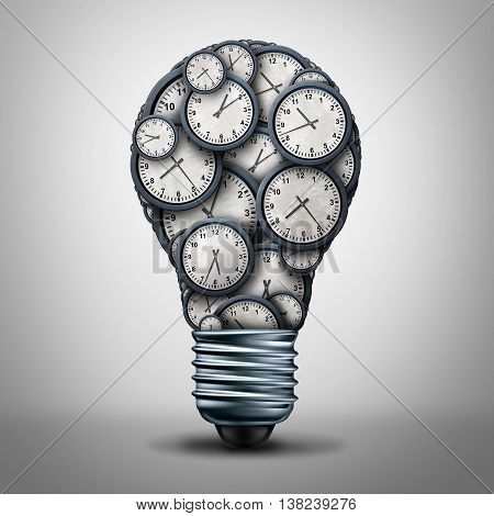 Clock time business solution concept as a group of clock objects shaped as a lightbulb or light bulb for appointment or deadline management or working hours idea icon as a 3D illustration.