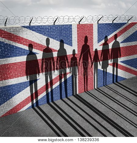 Britain immigration refugee crisis concept as people on a border wall with a British flag as a social issue on refugees or UK illegal immigrants with the shadow of a group of migrants with 3D illustration elements.