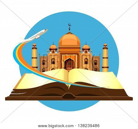 vector illustration round emblem Muslim mosque in the open book of the aircraft taking off