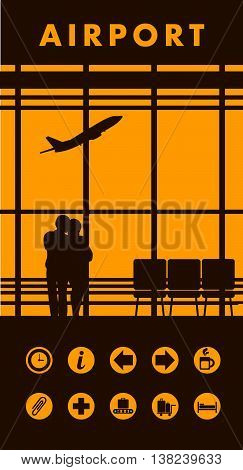 vector illustration of the airport building waiting room large picture window people silhouettes mourners vertical poster an information board with icons and text