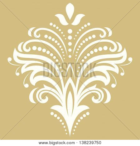 Floral white and golden pattern with fine arabesques. Abstract oriental ornament