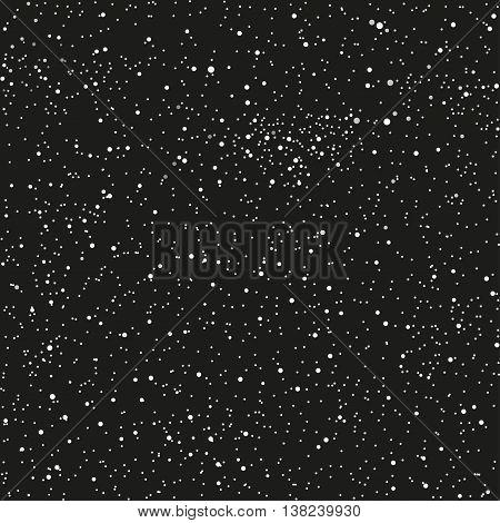 Vector white snow falling on dark background. Eps 10.