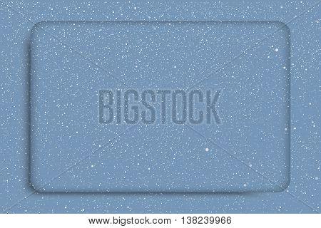 Vector white snow falling on blue background. Stock rectangular frame.
