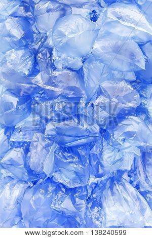 Blue Wrinkled Plastic Bags Background