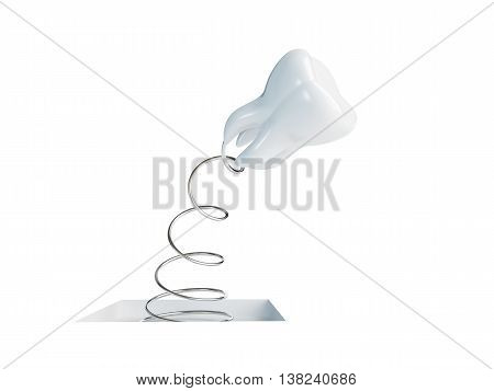 jumping spring tooth 3d Illustrations on a white background