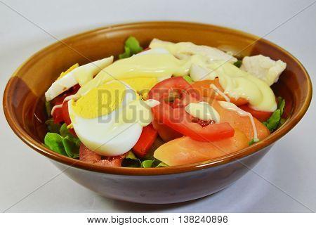 boiled egg salad dressing mayonnaise in bowl