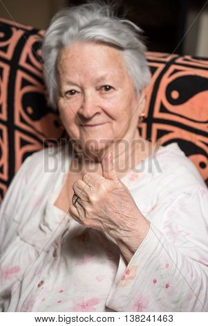 Smiling Old Woman At Home