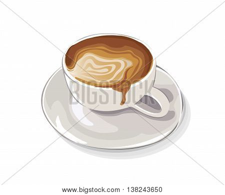 a cup of latte art cafe vector
