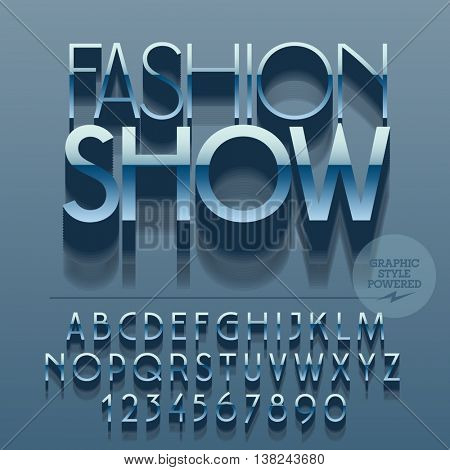 Set of glossy metallic alphabet letters, numbers and punctuation symbols. Vector reflective  logo with text Fashion show. File contains graphic styles