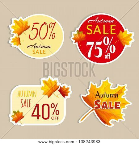 Set of isolated stickers with autumn leaves. Autumn sale. Vector illustration. Cartoon style. For business presentation.