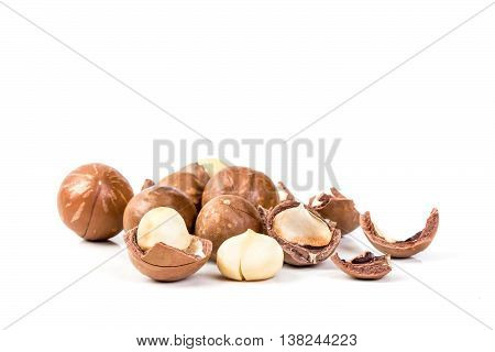 The macadamia nuts group on white background