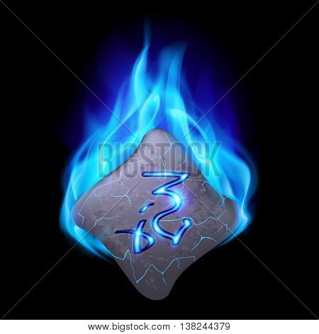 Mysterious bend stone with magic rune burning in blue flame