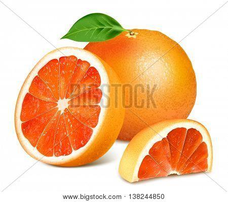 Ripe grapefruits with leaves.  Vector illustration. Fully editable handmade mesh.