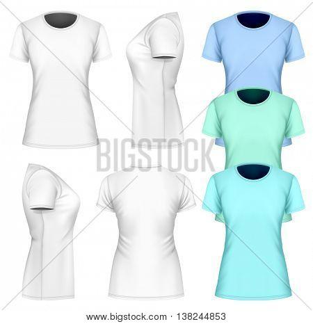 Women t-shirt short sleeve. Fully editable handmade mesh. Vector illustration.