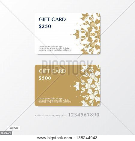 Vector, Premium Gift Card With Ornament Graphic On Gold And White Background With Bonus Number For C