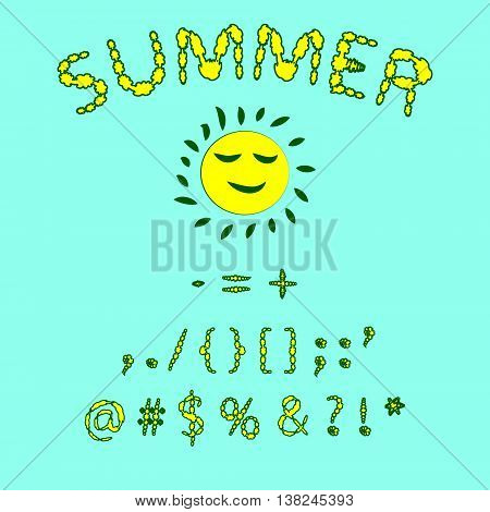 Floral summer font. Red and yellow colors of the font punctuation symbols