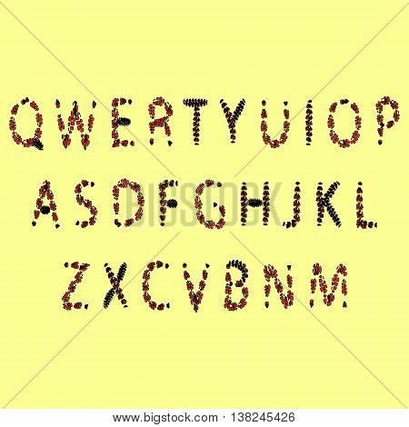 Halloween font. Red and black font from the drop the English alphabet
