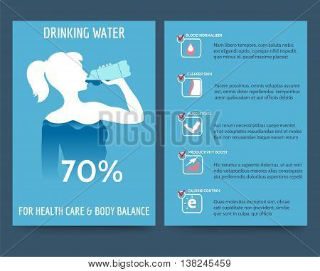 Brochure flyer template front and rear side with drinking water benefit. Vector illustration