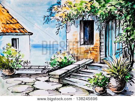 Oil Painting watercolor - flowers near the house Greek street near the sea spring; trees; south
