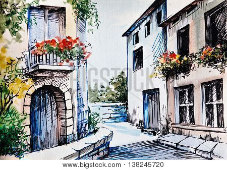 Oil Painting watercolor - flowers along the street spring; province