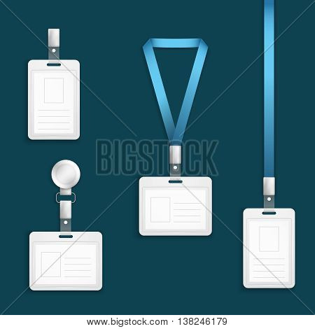 Name tag holder badge with lanyard retractor vector templates. Blank badge cards for id, vector illustration