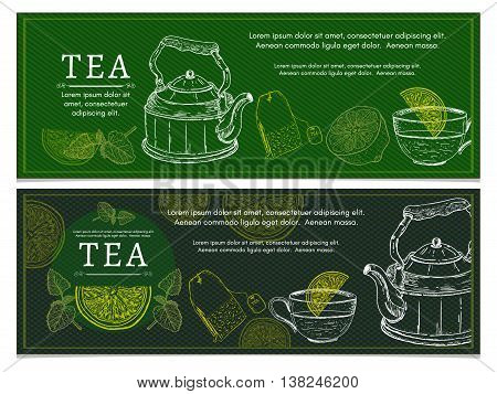 Tea banners lemon kettle tea party ceremony vector illustration