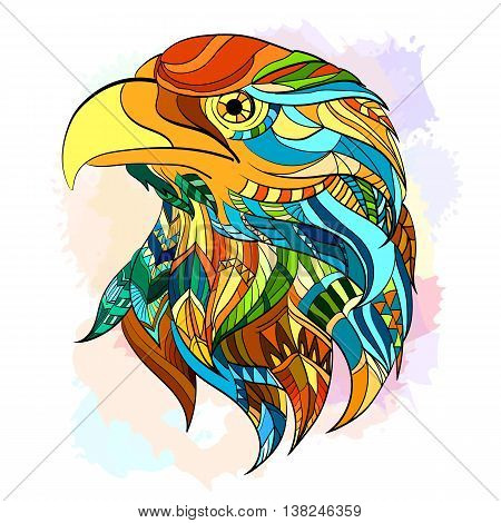 Ethnic patterned head of eagle beautiful eagle hand drawn art vector
