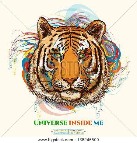 Tiger realistic portrait universe inside me tiger art poster hand drawn vector