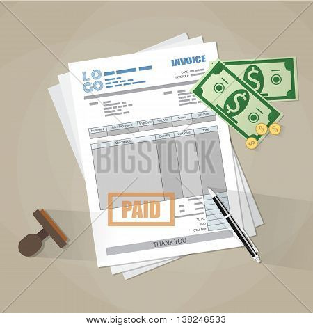 paper invoice form, paid stamp, pen, cash money and coins. tax. receipt. bill. vector illustration in flat style on brown background