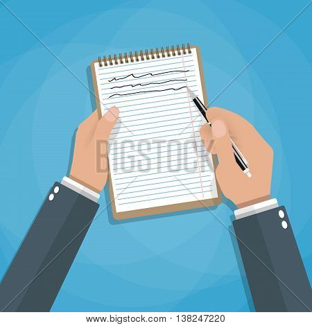 Hand holding notebook and pen. Concept of organize and planning. vector illustration in flat style on blue background