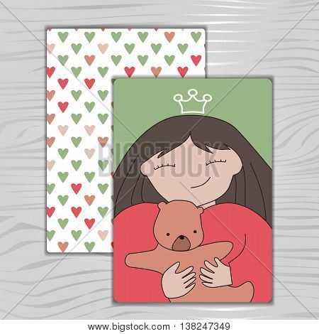 postcard Princess with teddy bear, vector background