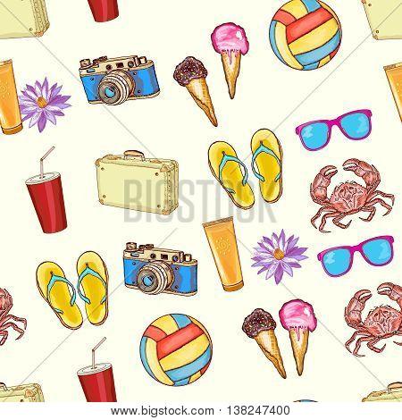 Summer beach seamless pattern summer travel hand drawn vector