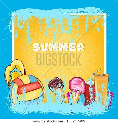 Summer background hot summer template water splashes on the sand hand drawn vector