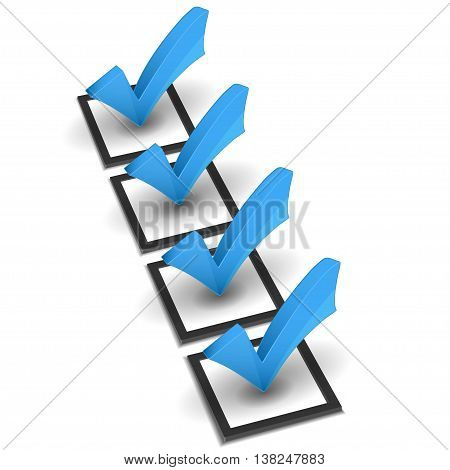 Vector check list and blue check mark on white background