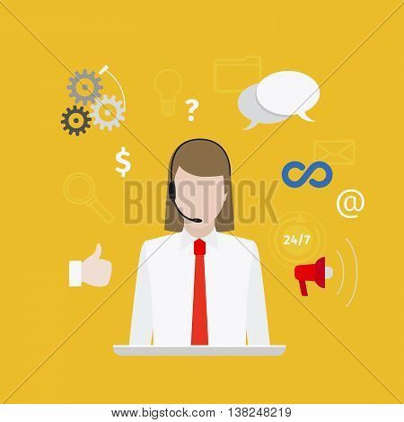 Call center with girl flat style yellow banner. Vector illustration
