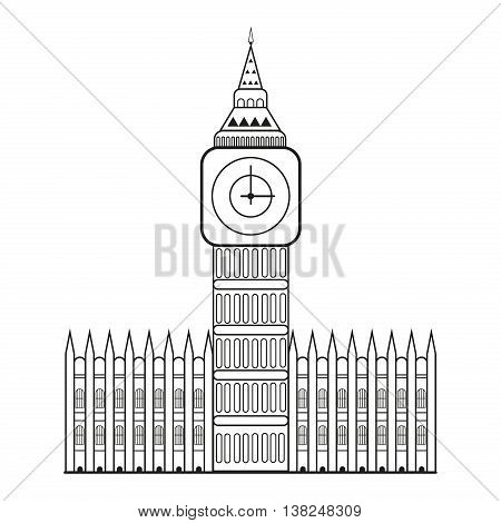 Vector illustration of Big Ben symbol of London and United Kingdom. Architecture clock building travel parliament big ben. Westminster famous uk sightseeing monument big ben landmark.