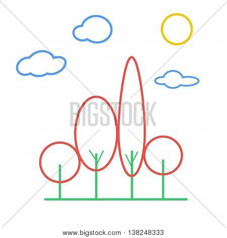 Linear landscape elements outline trees vector icons set. Line trees cloud sun grass plant design set graphic outline illustration. Outline trees leaf nature icon. Graphic element branch line art.