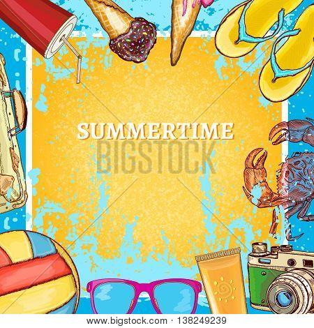 Summertime template hot summer background hand drawn vector