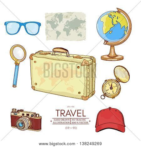 Tourism and travel icons compass old camera globe old map travel tool vector
