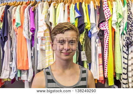 boy enjoys shopping in Miami in Ocean drive by night
