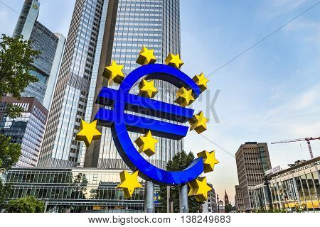 Famous Euro Sign In Frankfurt Am Main