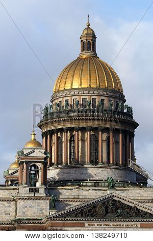 St. Isaac's Cathedral winter day, January 31, 2016 in St. Petersburg, Russia.