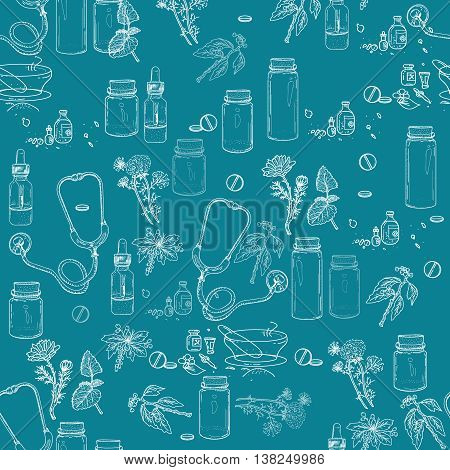 Herbal medicine seamless pattern hand drawn elements vector illustration