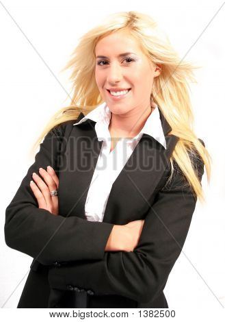 Beautiful Blonde Smiling Business Woman With Arms Crossed