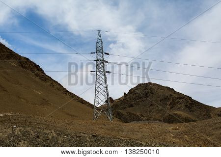 High-voltage line of electricity transmissions.in Leh-Ladakh India.